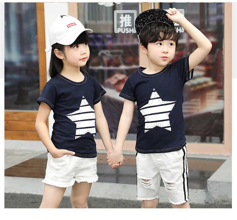Новинка 2019 года, детские футболки Популярные топы с короткими рукавами для маленьких мальчиков с принтом героев летняя футболка в полоску, Милая футболка для девочек От 3 до 8 лет