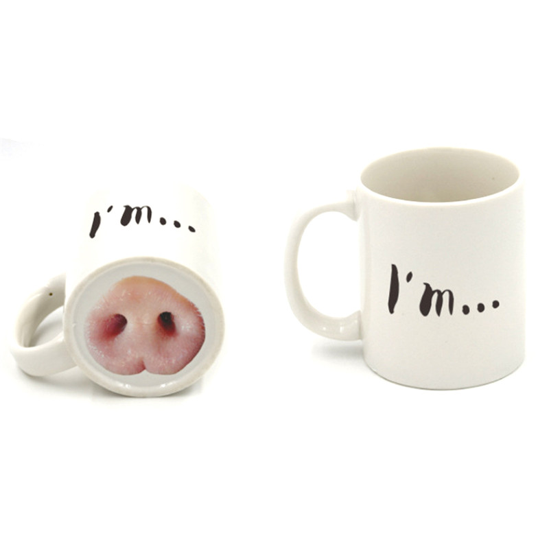 2017 Creative Ceramic Mug Cute Coffee Cups Dog Pig Nose Mugs Tea Drinkware Drink Holder With Box Milk Container Gift Craft In From Home Garden