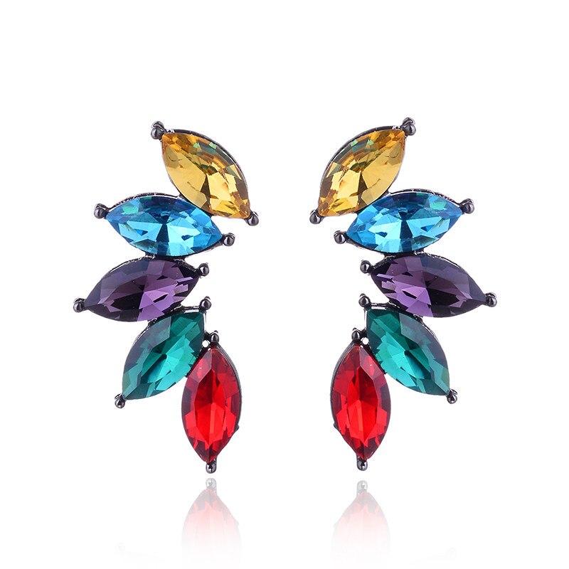 14 цветов новый дизайн ювелирные изделия полный кристалл серьги Мода женщин заявление серьги девушки партии простые серьги-гвоздики 2018