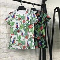 New 2018 Spring Summer Fashion Women Cute Animal Bird Leaf Patterns Print Cotton T Shirts Short