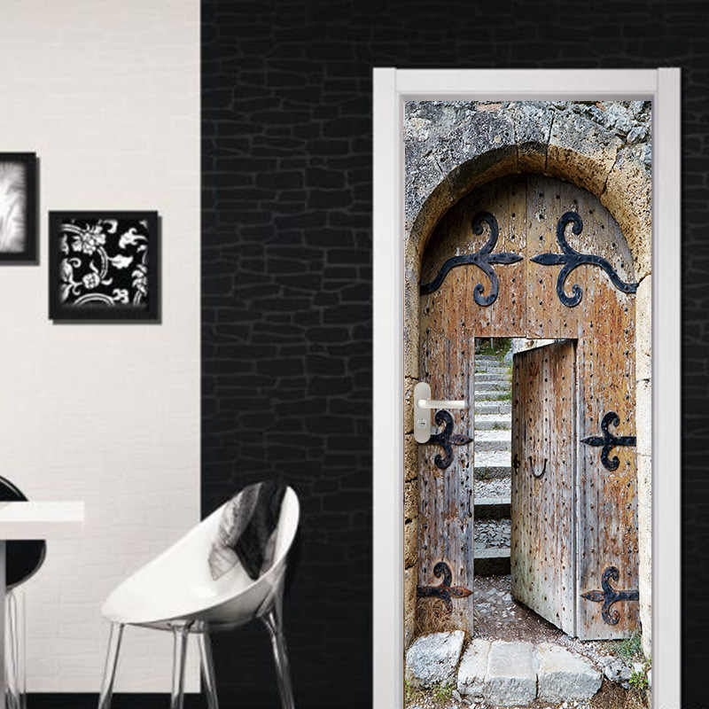 3D Simulation Vintage Iron Door Bathroom Door Sticker Window Door DIY Mural Bedroom Home Decor Poster PVC Sticker
