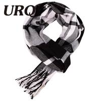 Designer Black White Unisex Polyester Fiber Wool Cashmere Blend Plaid Warm Scarf 2016 New Charming Man