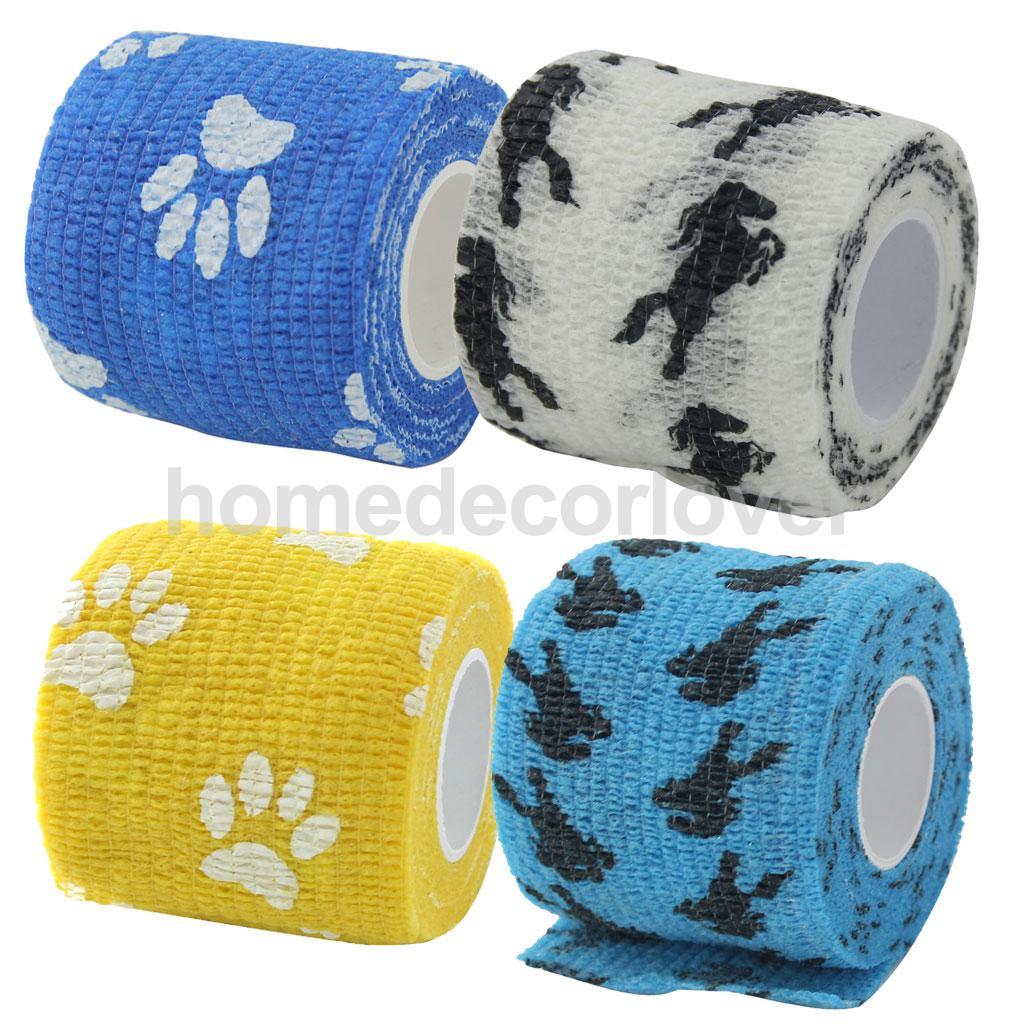 Cat Dog Pet Cohesive Bandage Gauze Tape Medical Care Wrap Horse Print ...