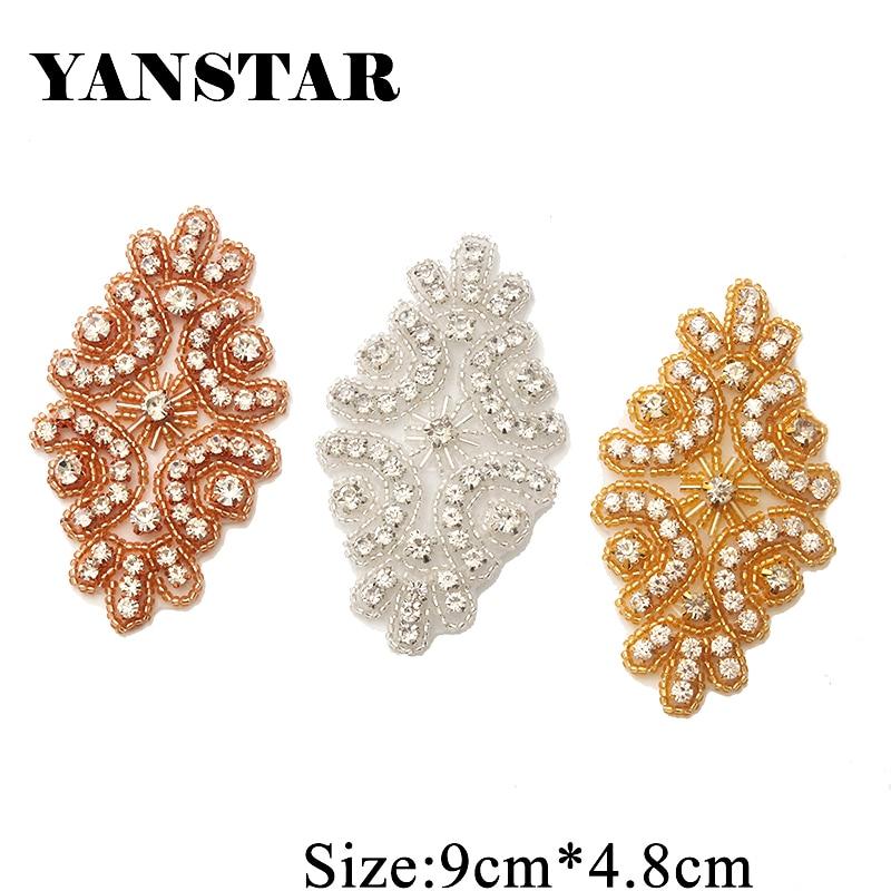 YANSTAR 225PCS Rhinestone Applique By Hand Sparkle Crystal Accessorie Sewing On Wedding Dress Sash for wedding