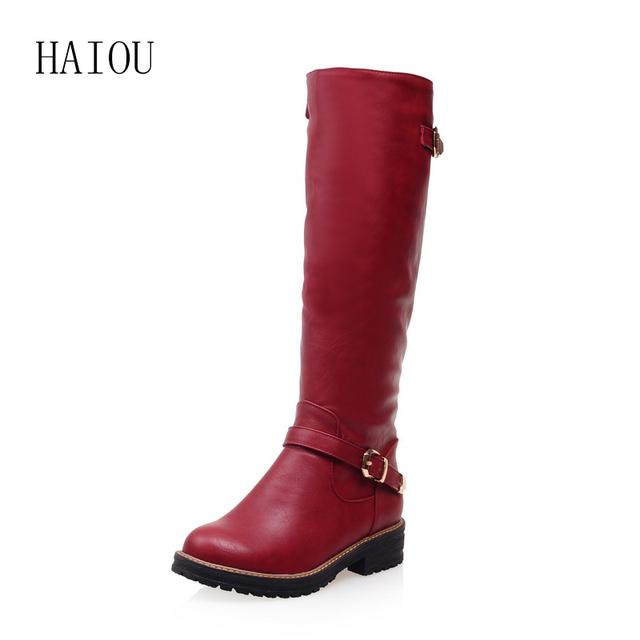 HAIOU 2016 Sapatos Zíper Mulheres Fivela Moda Botas Mulheres Botas de Montaria botas Dedo Do Pé Redondo Grossas Botas de Salto Baixo Da Motocicleta Tamanho Grande 34-43