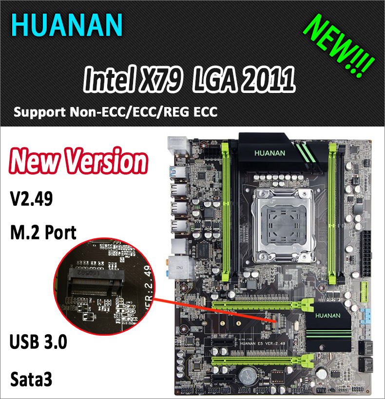 HUANAN golden V2.49 X79 motherboard LGA2011 ATX USB3.0 SATA3 PCI-E NVME M.2 SSD port support 4 x 16G memory tested huanan v2 49 x79 motherboard with pci e nvme ssd m 2 port cpu xeon e5 2660 c2 ram 16g ddr3 recc support 4 16g memory all tested