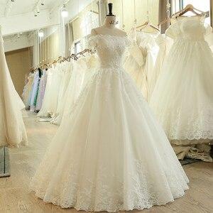 Image 3 - SL 536 di Modo A Buon Mercato Fuori Dalla Spalla Manica Corta Perline Pizzo Applique Da Sposa Abito Da Sposa matrimonio vestido longo