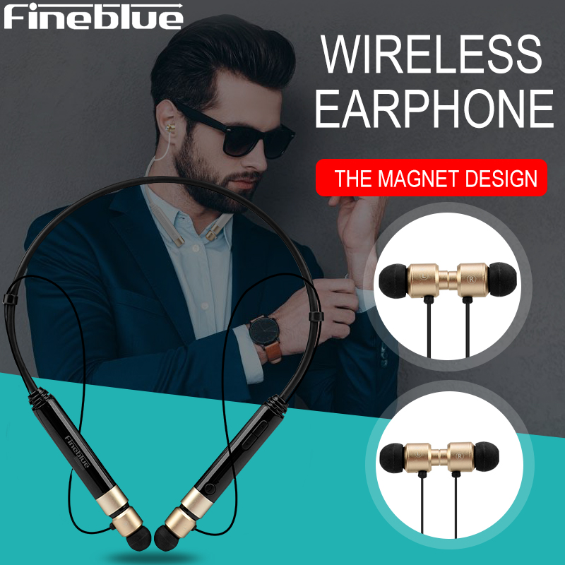 Fineblue Metal Sports wireless earphone FD600 Bluetooth Magnetic gaming Headset Stereo BASS Earbuds NFC Neckband music Earphones