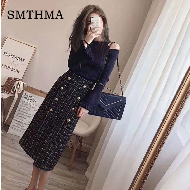 Luxury Designer Flare Sleeve Knit Sweater 2019 Autumn Winter Elegant Women Double-breasted Tweed Two Piece Skirt Set