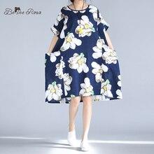 Belinerosa 2017 большой размер платья летние элегантный большой цветочный печатных dress для беременных женщин fit 50 ~ 90 кг tyw0228