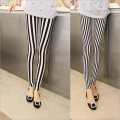 2016 New Ladies Fashion Milk Silk Show Thiny Leggings Black White Vertical Striped Skinny Pants Casual Pencil Pants For Women