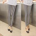 2016 New Ladies Fashion Milk Silk Show Thiny Leggings Black White Vertical Striped Skinny Pants Casual Pencil Pants For Women