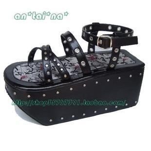 ФОТО Princess sweet lolita gothic lolita shoes custom  lolita cos punk rivet sandals 9115 black