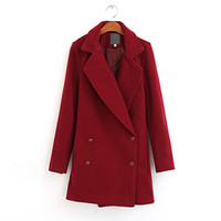2014 New Autumn And Winter Clothing Women Fashion Casual Double Breasted Wool Coat Female High Quality