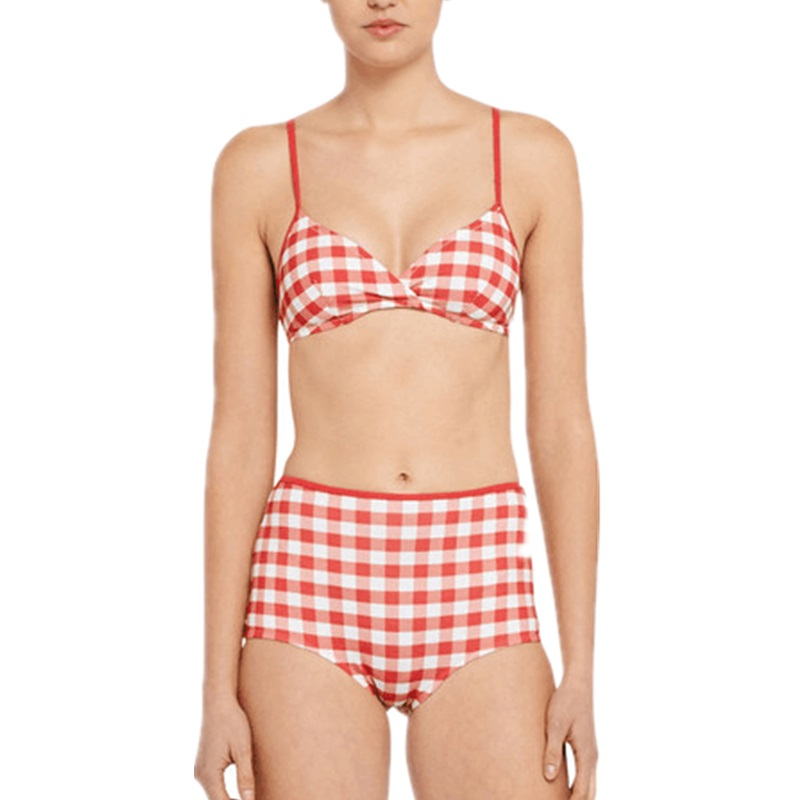 72fd2f0b259329 Vintage High Waisted Two Piece Swimsuit Checkered Swimwear Women 2016  Orange Red Plaid Push Up Bandeau Brazilian Bikini S-XL