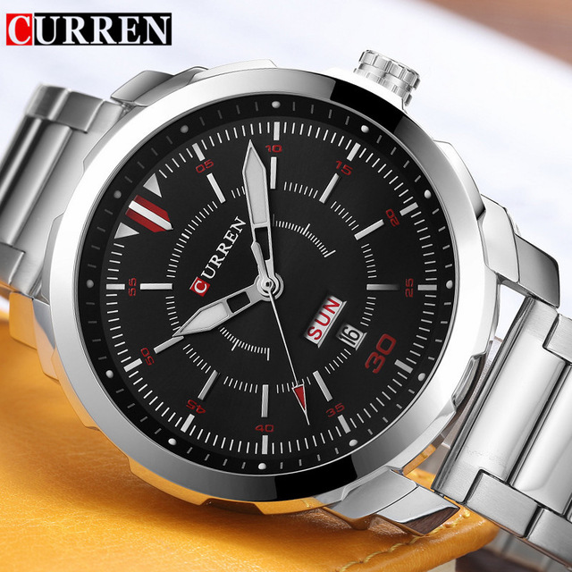 цены на Curren Watches Mens Brand Luxury Quartz Watch Men Fashion Casual Sport Wristwatch Male Clock Waterproof Stainless Steel Relogios в интернет-магазинах