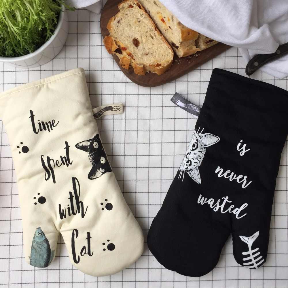 Engrossar luvas de Forno resistente ao calor da cozinha Branco gato preto luvas luvas de forno luvas de cozinha Não-slip de cozimento Cozinhar em casa ferramenta