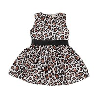 Fashion 0 5T Summer Casual Baby Girls Leopard Pattern Sleeveless Dress Kids Toddler Pageant Cotton Sundress