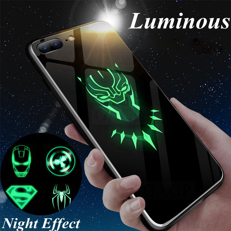 Hot Batman Superman Spiderman Luminous Glass Case For iphone 7 8 6 6s Plus X Xs XMax XR Avengers Black Panther iron Man Cover marvel glass iphone case
