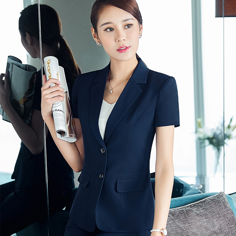 2017 Fashion Women Elegant Pants Suits Summer Formal Black Blue Blazer Work Wear Plus Size Office Uniform Style Business Suits Back To Search Resultswomen's Clothing
