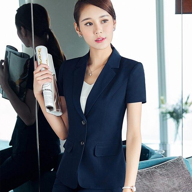 Moda mujer pantalones elegantes trajes de verano formal negro azul blazer  ropa de trabajo talla jpg 4b3ef6620614
