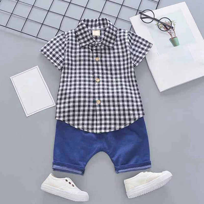 Toddler Boys Plaid Print Short Sleeve Tops with Shorts Outfit 25