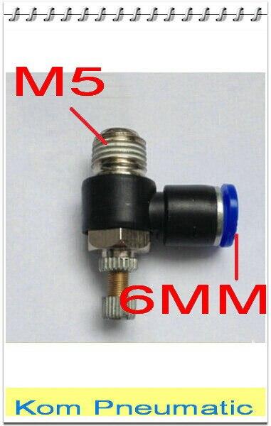 5mm M5 Rosca Macho 6mm Tubo Empuje Montaje Controlador de flujo de velocidad Válvula de aire