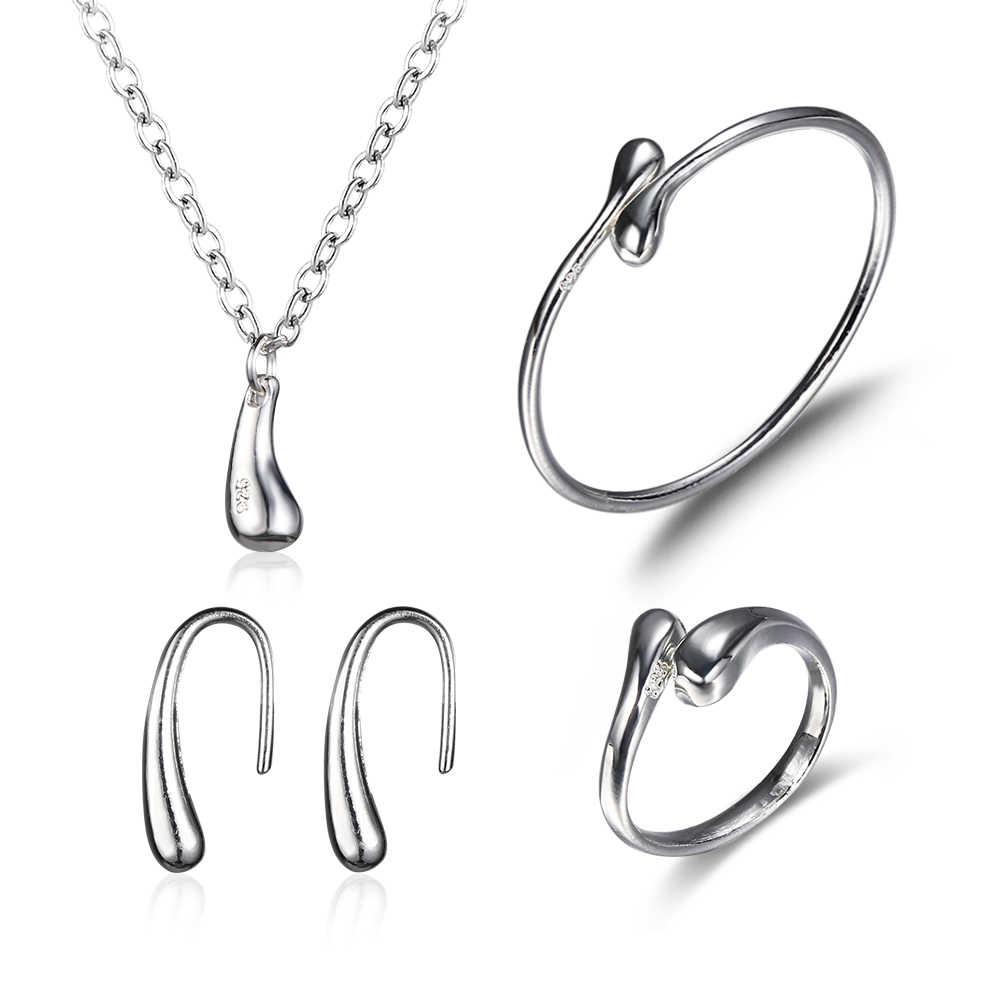 1 סט אופנה נשים חתונה Teardrop צמיד שרשרת עגילי טבעת להרחיב צמיד מתכוונן כלה תכשיטי סטי boucle oreille