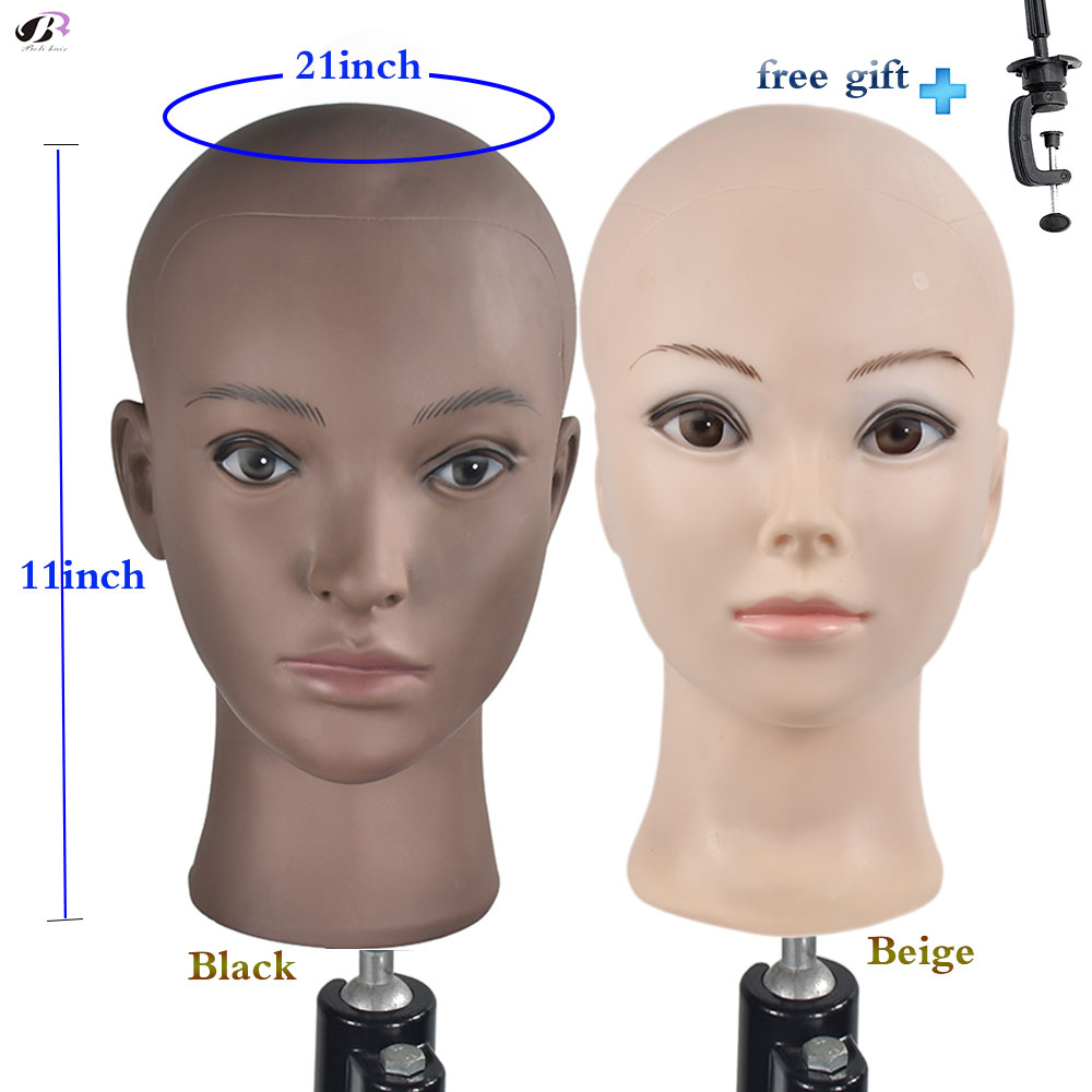 Doll Head With A Free Clamp PVC Bald Mannequin Training Head Professional Bald Manikin Head For Wigs Display