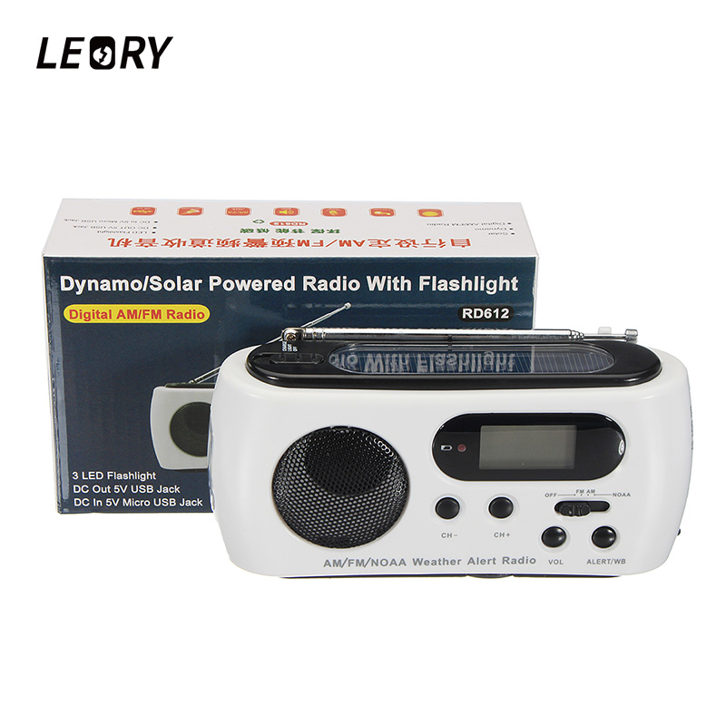 LEORY Solar Emergency Hand Crank Digital LED Flashlight Radio AM FM NOAA With Phone Charging For Ourdoor Emergency Power rd 310 1 3 lcd hand cranked dynamo 5 led flashlight w alarm function fm radio white grey