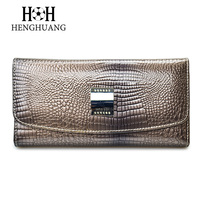 HH Brand 3 Fold Alligator Genuine Leather Women Wallets And Purses Coin Pocket Female Clutch Multifunction