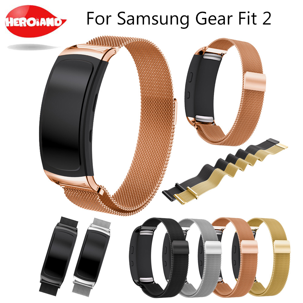 Stainless Steel Milanese Watch Strap Wrist band for Samsung Galaxy Gear fit 2 SM-R360 Magnetic Loop Bracelet for Samsung fit2 for gear fit2 watch band gear fit2 stainless steel bracelet strap replacement band wristband for samsung gear fit 2 sm r360