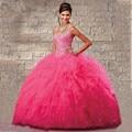 Hot Pink Vestidos Quinceanera 2016 Vestidos de Baile Vestidos De 15 años Debutante Luxo Ruffles Vestido de Festa para 15 Anos com xale