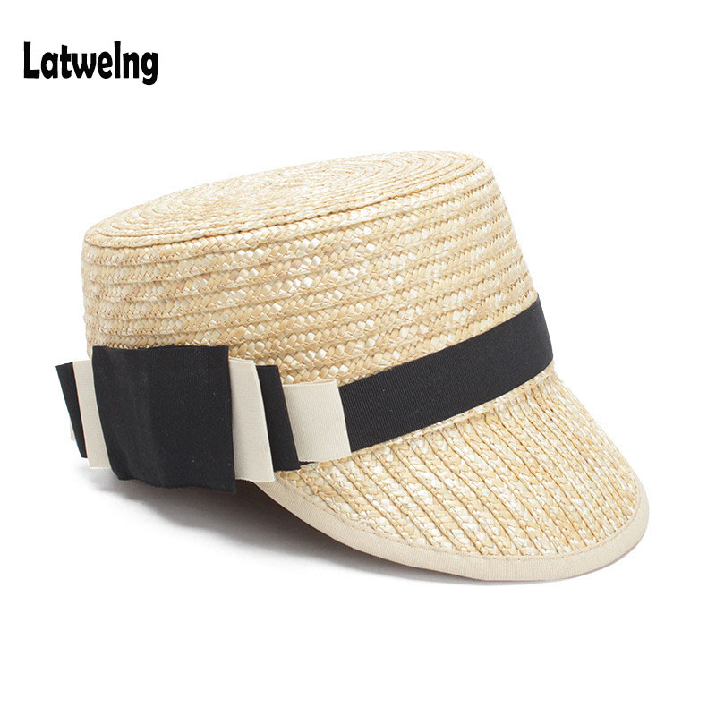 NEW European And American Fashion Summer Straw Sun Hats For Women Handmade Visor Caps Lady Dinner Party Hat Flat Top Panama Hat