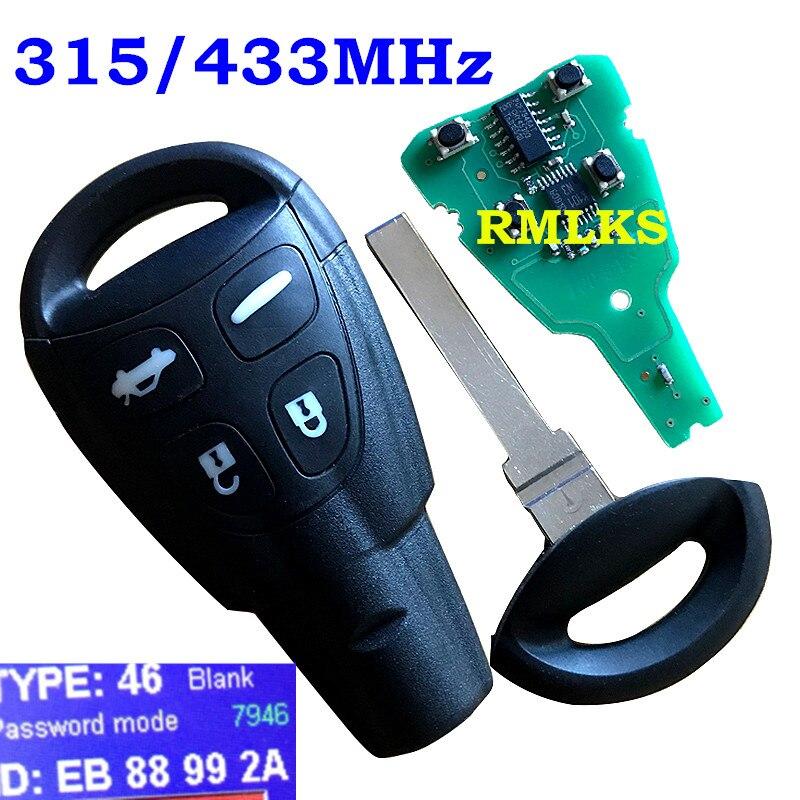 Pour LTQSAAM433TX Saab 9-3 9-5 4 Boutons Clé De Voiture Intelligente À Distance Fob PCF7946AT 434 Mhz/315 Mhz PCF7946AT Puce