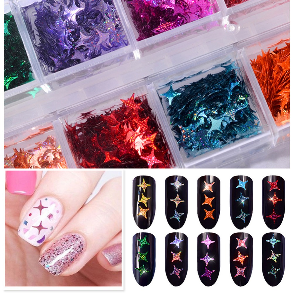 Nail Glitter Logical 12 Colors/box Laser Shiny Stars Nail Glitter Sequins Flakes 3d Charm Diy Tips Nail Art Manicure Decoration #265593 Be Shrewd In Money Matters