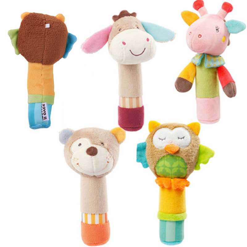 Baby Rattle Toys Animal Hand Bells Plush Baby Toy With BB Sound Toy Gift Bear/Owl/Deer/Donkey Plush Doll