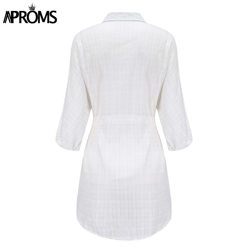 Aproms Elegant Cotton Linen 3/4 Sleeve Shirt Dress Summer 2020 Beach Style Drawstring Waist White Loose Dresses Female Vestidos 3