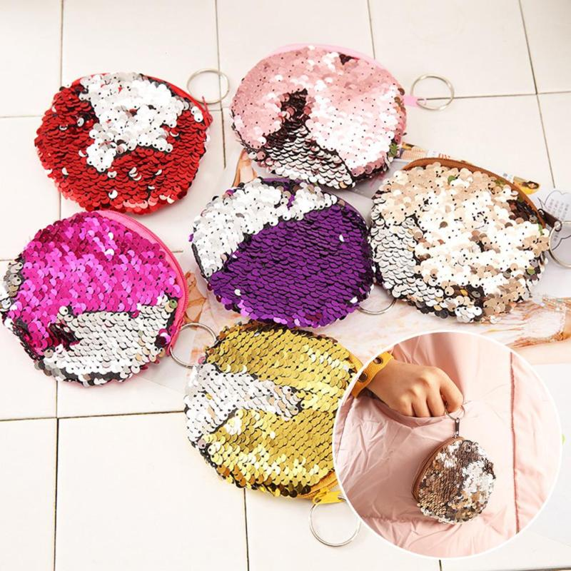 Bling Sequin Double Color Coin bag Wallet Change Purse Zipper Round Clutch Earphone Cable Storage Holder Small Keys Bag Y5 double layer zipper wallet coin purse cell phone storage pouch bag w hand strap deep pink page 6