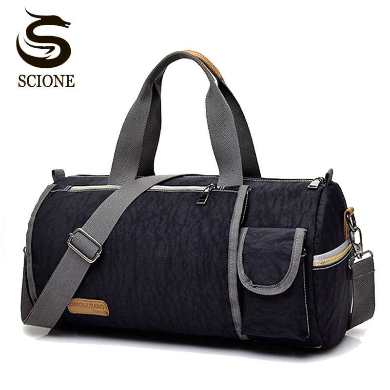 Men s Nylon Handbag Round Cylindrical Shaped Travel Bag for Women Men Tote  Duffel Bags High Quality b2d17ea03b660