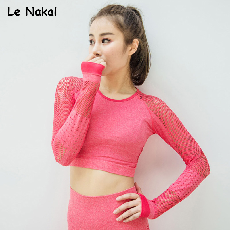 Elite Seamless yoga top workout tops for women long sleeve yoga shirts fitness gym crop top active sport shirts