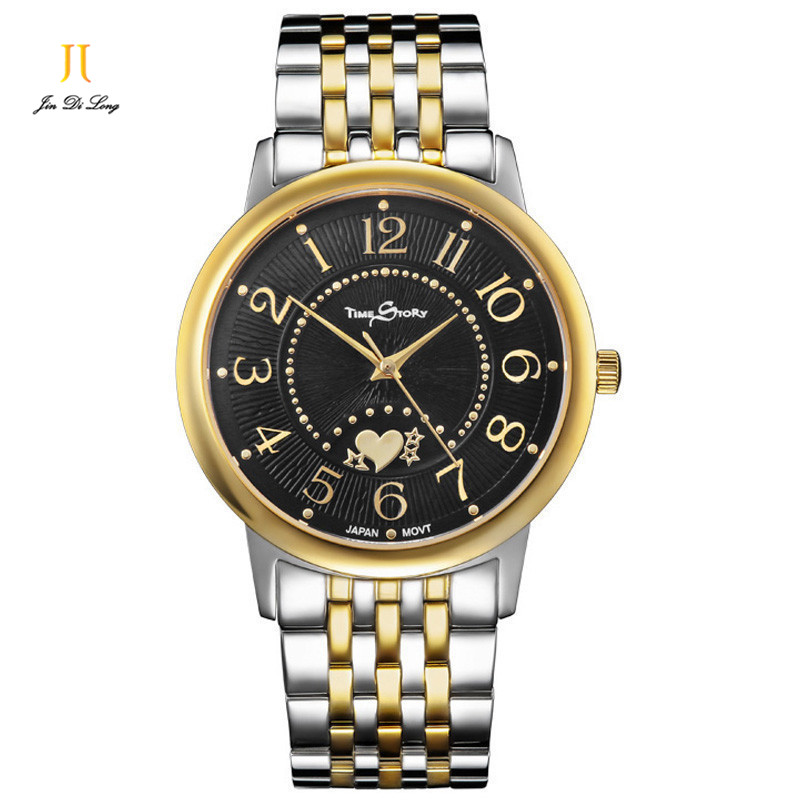Time Story Top Brand Luxury Lovers' Couple Watches Waterproof Quartz Strap Watch for Women Men Stainless Steel Watch Montre ultrathin couple watches for men waterproof stainless steel watch male table women quartz watch female form valentines day gift