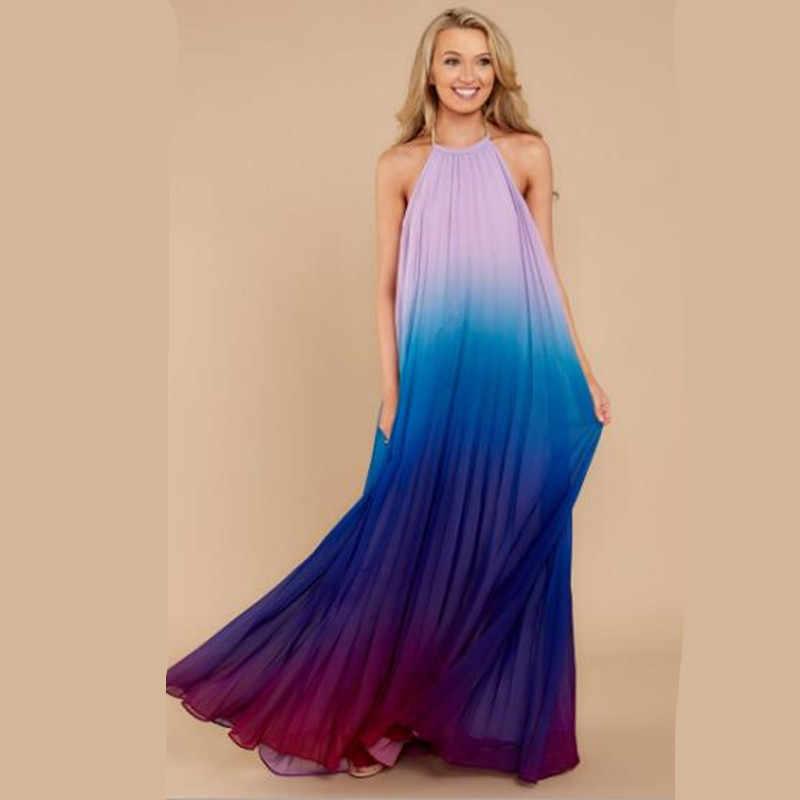 Пикантные Для женщин спинки макси платье без рукавов с лямкой через шею Длинные шифоновое платье Vestido градиент плиссированные Бохо пляжное платье QV45