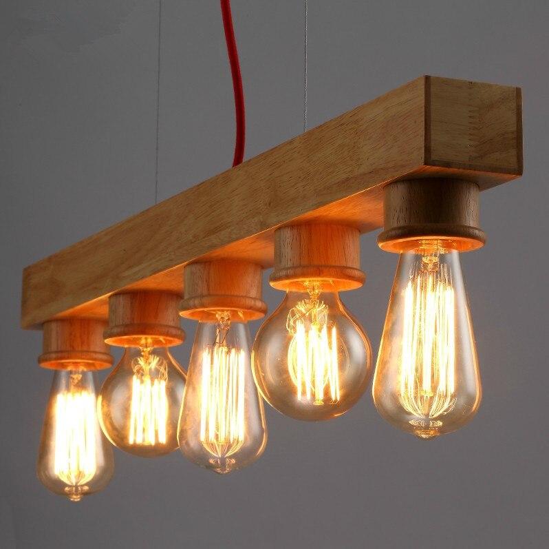 Lampe suspendue en bois personnalité créative droplight café restaurant bar table à manger lampe en bois massif chambre art lustre