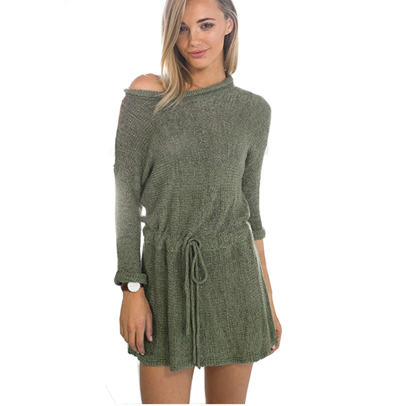 Army Green Drawstring Waist Rolled Cuff Loose Sweater Dress Sexy Winter Slim Bodycon Long Sleeve Knitted Dresses Women tie cuff drop waist dress