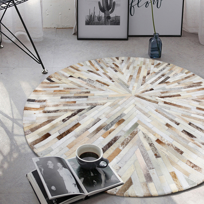 Luxury Cowhide Seamed Striped Round Rug , Round Shaped Real Cow Skin Patchwork Carpet for Living Room Bedroom Decoration Rug