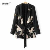 BLSQR Women Black Sashes Floral Blazer Notched Collar Long Sleeve Coat Vintage Ladies Casual Brand 0uterwear