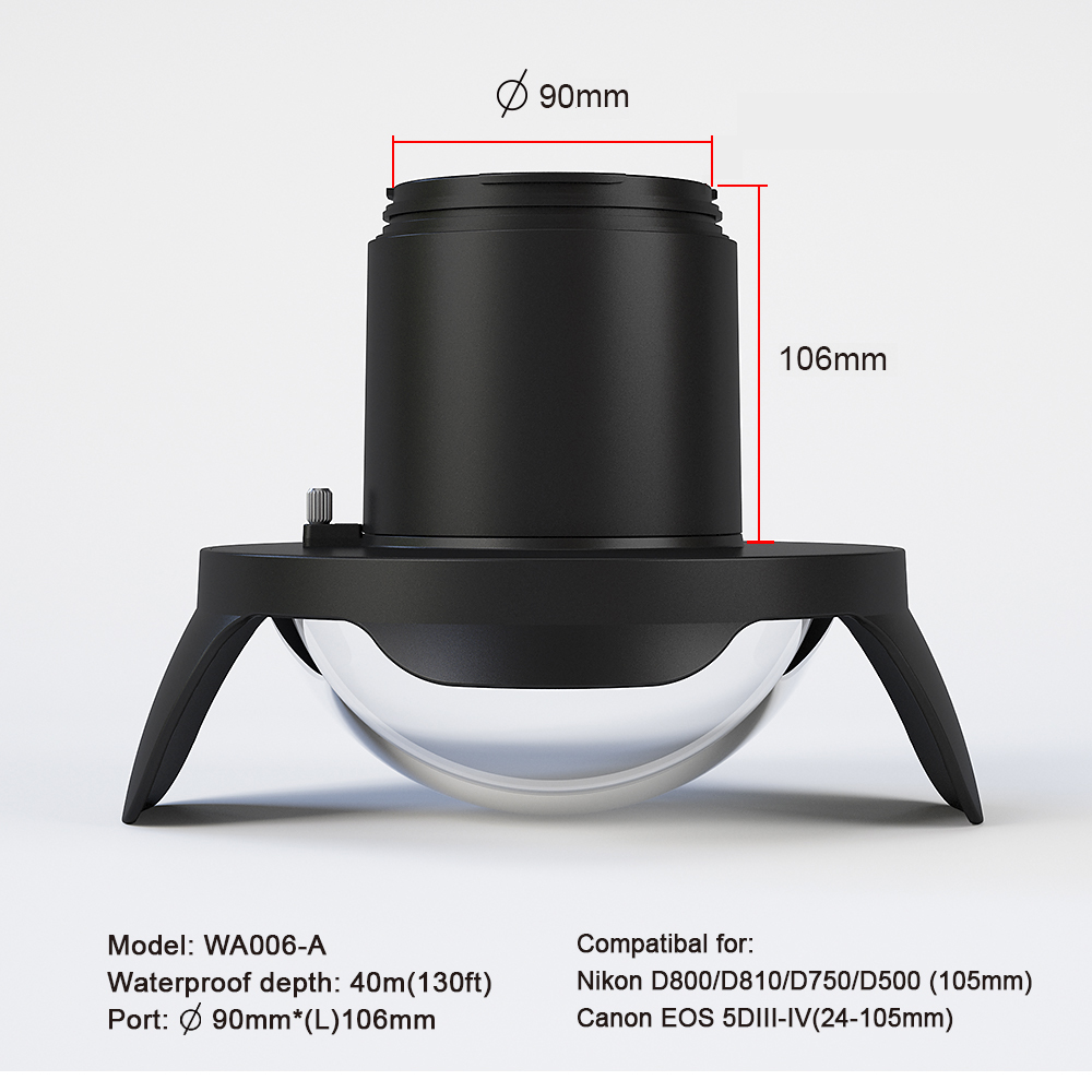 Underwater 40m Photography Anti reflective Wide Angle Fisheye Lens for Nikon Canon Camera Seafrogs Meikon Waterproof Housing in Camera Filters from Consumer Electronics