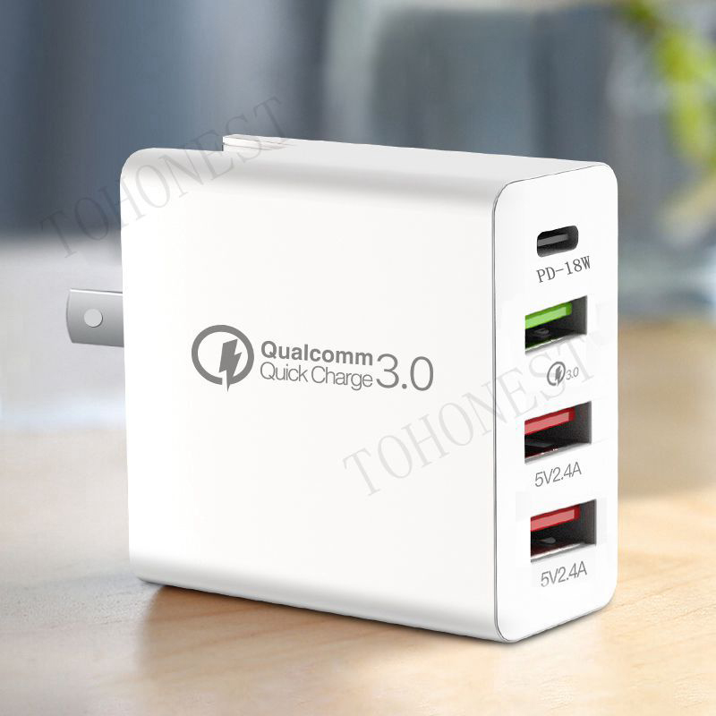 48W Multi Quick Charger PD Type C USB Charger for Samsung iPhone Huawei Tablet QC 3.0 Fast Wall Charger US EU UK Plug Adapter(China)