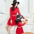 2016 весна Высокое качество кружева розовый красный цвет платья для матери и дочери моды детская одежда